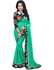 B Bella Creation Designer Turquoise Georgette Saree With Blouse Piece