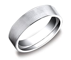 Men's Platinum 6mm Flat Comfort Fit Plain Wedding Band Featuring an Elegant Soft Satin Finish, Size 9