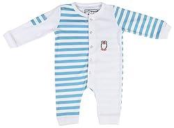 Lil Penguin Baby Boys' Cotton Romper (LP12B4, White, 9-12 Months)