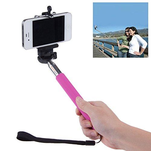 Lemonbest® Extendable Rotary Camera Selfie Telescopic Holder Self Portrait Shooting Pole Adjustable Travel Handheld Monopod Mount Holder For Iphone 5S 5C 5 4S 4 Samsung Galaxy (Hot Pink)