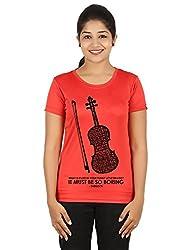 Fanideaz Silky Polyester Favourite Violin Tv Series Sherlock T Shirt for Women_Red_XL