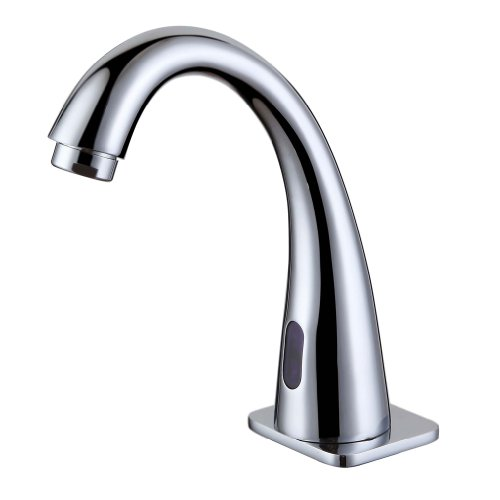 SMARSTAR JT-712 Contemporary Chrome Finish Bathroom Sink Faucet Tap with Automatic Sensor Input DC 6V