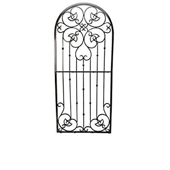 H Potter Large Garden Trellis Wrought Iron Heavy Scroll Metal Decoration Powder Coat Finish-Lawn, Patio & Wall Decor Screen for Rose, Clematis, Ivy Weather Resistant Patio Deck Wall Art Model GAR545