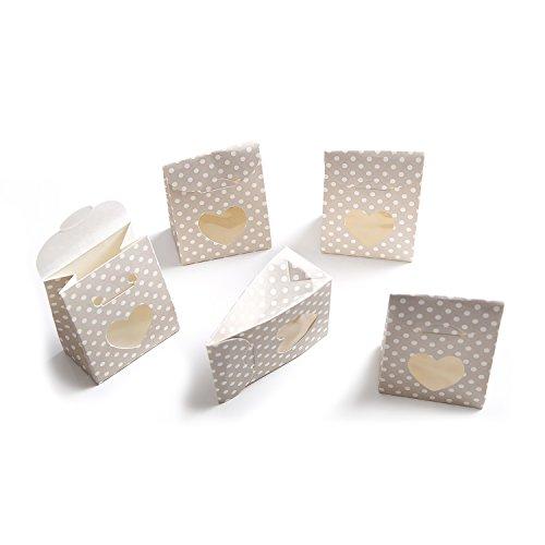 10 kleine beige schachteln boxen mit wei en punkten und. Black Bedroom Furniture Sets. Home Design Ideas
