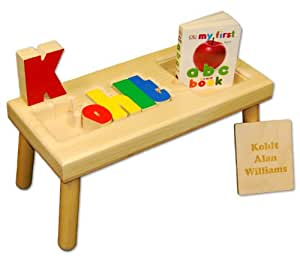 Amazon Com Personalized Wooden Child S Name Puzzle Stool