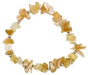 Stretch Elastic Nylon Bracelet Sterling Silver Beads, Natural Shell & Citrine Stones