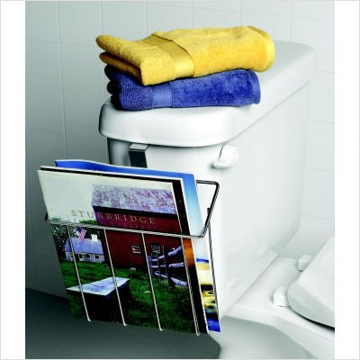 Chrome BATHROOM Over Toilet Tank MAGAZINE RACK decor