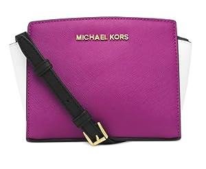 Michael Kors Raspberry /Optic White Colorblock Mini Selma Messenger Bag