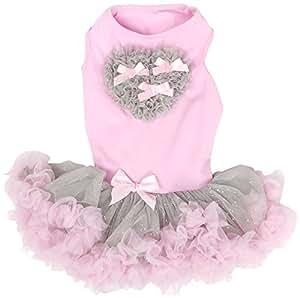 Amazon.com : Corazón vestido con volados para perros, X-Small, Rosa