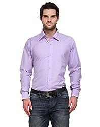 Ausy Purple Cotton Blend Mens's Shirt