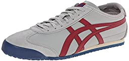 Onitsuka Tiger Mexico 66 Fashion Sneaker, Light Grey/Burgundy, 12.5 M Men\'s US/14 Women\'s M US