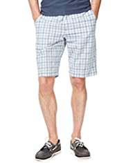 Blue Harbour Pure Cotton Seersucker Checked Shorts