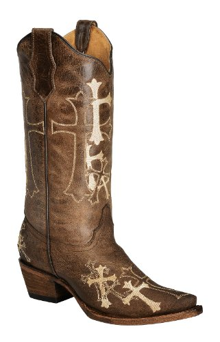 Corral Women's Circle G Beige Cross Embroidered Cowgirl Boot Snip Toe