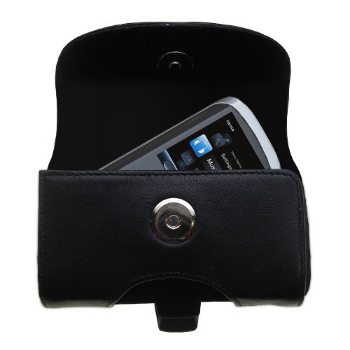 Horizontal Black Leather Case for the RCA M4208 OPAL Digital Media Player with both a belt clip and loop option - a Gomadic design