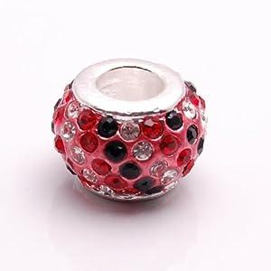 Bleek2Sheek Crystal Rhinestone Black, Red and Clear Charm Bead