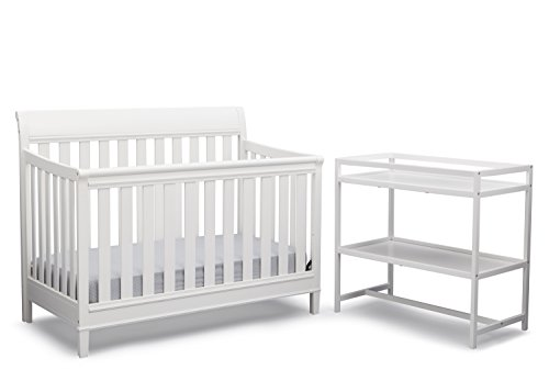 Delta Children Harbor 4-in-1 Convertible Crib with Bonus Changing Table, White (Delta White Changing Table compare prices)