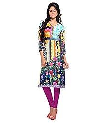 Shubh Women's Crepe Kurti (Shubh_105_Multi-Coloured_Free Size)