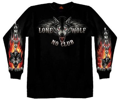 Hot Leathers Lone Wolf No Club Biker Long Sleeve Double Sided T-Shirt (Black, X-Large)
