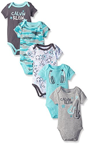 Calvin Klein Baby Boys' 5 Pack Assorted Bodysuits, Turquoise/Gray, 0-3 Months