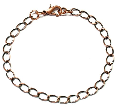 Antique Copper Finish Blank Charm Bracelet - 7.5 Inches Long - Gift Pouch