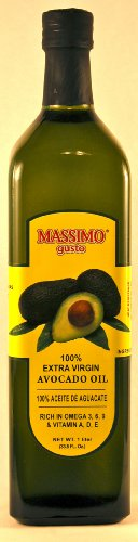 Massimo Gusto Extra Virgin Avocado Oil, 1 Liter Glass Bottles (Pack of 2)