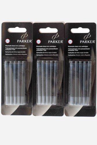 Parker Quink - 3 Blisters de 15 Cartouches Noir Lavable, non Effaçable.