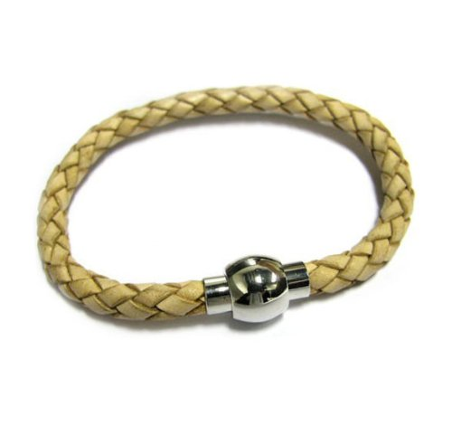 Stainless Steel Natural Braided Bolo Leather Cord 5mm Magnetic Wrist Round Bracelet 7.5''