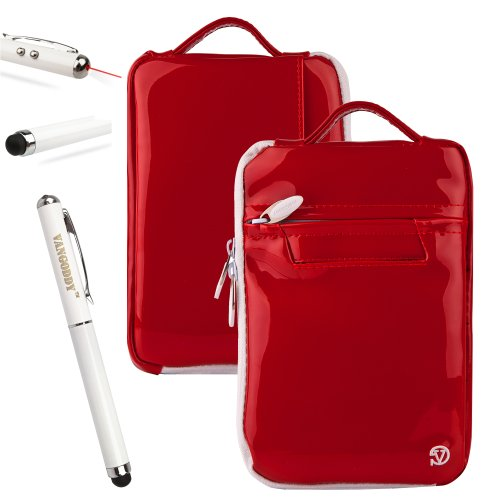 Carnelian VanGoddy Tablet Accessories Stylish Hydei Padded Carrying Case Skytex Skypad Alpha 2 Protective Cover + 3 in 1 Capacitive Tipped Stylus (LED Flashlight and Laser Pointer) Batteries Included!!