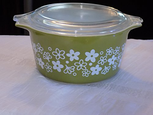 Pyrex (1 qt) Spring Blossom / Crazy Daisy Green Cinderella Casserole Baking Dish Bowl (No. 473) (1quart Baking Dish compare prices)