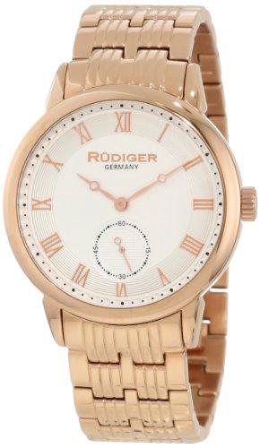 Rudiger Men's R3000-09-001 Leipzig Rose Gold IP Silver Dial Roman Numeral Watch