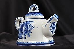 Gzhel Porcelain Bell In The Shape Of Teapot