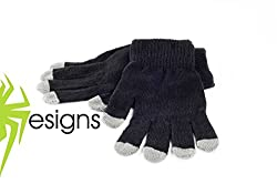Spider Designs Unisex Texting Touch Gloves for Smartphones & Touch-screen - Black