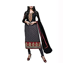 Admyrin Women Black and Grey Georgette Dress Material