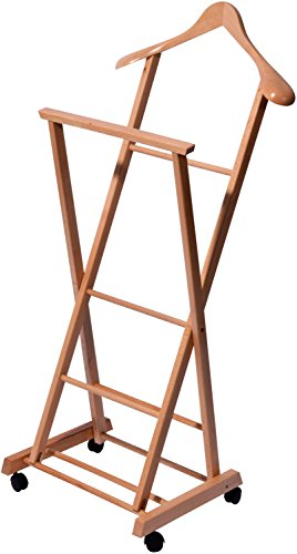 29741FSC Rollbarer Herrendiener aus Holz, Kleider Diener klappbar, Buche lackiert, 33 x 41 x 104 cm, hellbraun