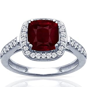 Platinum Cushion Cut Ruby Ring With Sidestones