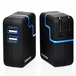 PowerGen Dual USB 3.1A 15w Travel Wall Charger with Swivel plug for Apple iPad 2, New iPad 3, iPhone 5 4s 4 3 3Gs, Amazon Kindle Fire HD DX KeyBoard, Samsung Galaxy Tab (USB Cable NOT included) - BLACK