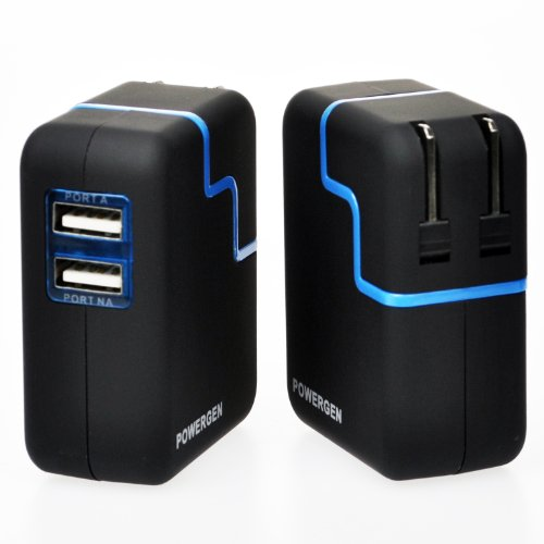 PowerGen Dual USB 3.1A 15w Junket Wall Charger with Swivel plug for Apple iPad 2, New iPad 3, iPhone 5 4s 4 3 3Gs, Amazon Inspirit Fire HD DX KeyBoard, Samsung Galaxy Tab (USB Cablegram NOT included) - BLACK