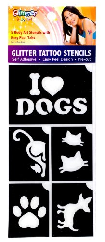 Glimmer Body Art I Love Pets Glitter shimmer Tattoo Stencil Set Party Accessory - 1