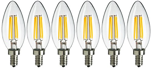 Sunlite CTC/AQ/E12/DIM/CL/27K/6PK 40 Watt Equivalent LED Antique Torpedo Tip Style Chandelier Dimmable Light Bulb , Warm White