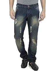 SAVON Mens Slim Fit Blue Distressed Denim Jeans For Men With Elegant Embroidery