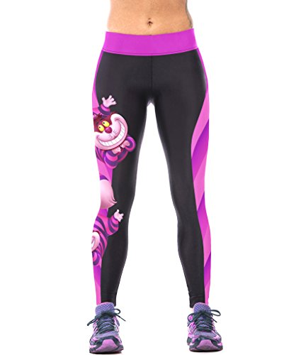 ZIOOER Fitness Yoga Sport Pants Printed Stretch Ankle Legging, Cheshire Cat, One Size