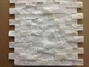 Italian white carrara split face 1x2 mosaic tile for Italian marble backsplash