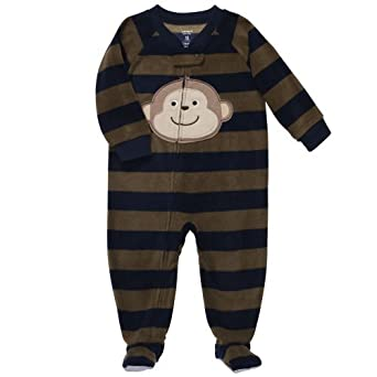 Carter's Boys 1-piece Fleece Footed Blanket Sleeper Pajama Navy Blue/Olive Green Stripe with Monkey - 4 Toddler (4t)