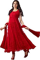Ecoco Fashion Women's Net Unstitched Dress Material (ECOCO-RED HOT, Red)