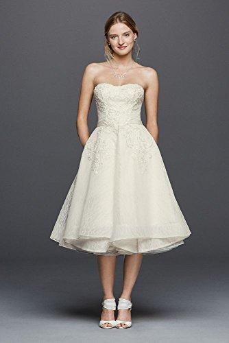 Oleg Cassini Short Strapless Lace Wedding Dress Style CWG742, Ivory, 10