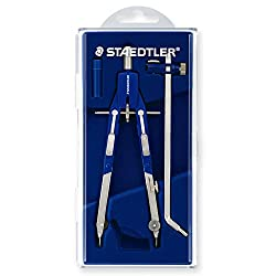 Staedtler 552 02 Mars Comfort Quick Action Compass With Self-Running Spindle And Extension Rod In Flap Cover Case Blue / Silver