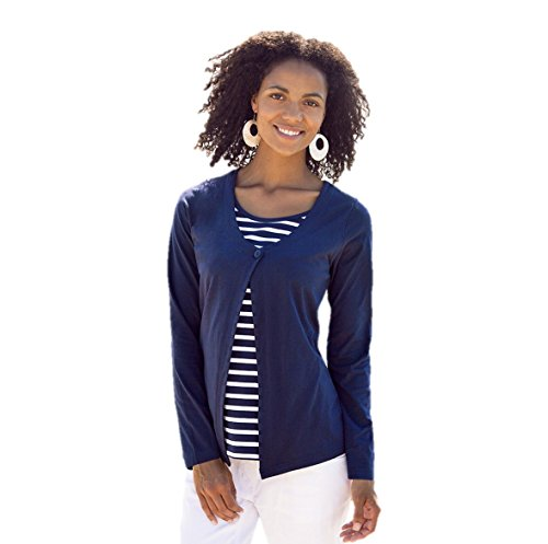 Navy Breton Stripe Nursing Twinset (Small, Navy)