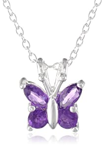 """Sterling Silver Amethyst Butterfly Pendant Necklace, 18"""""""