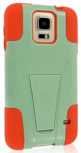 myLife TM Pistachio Green and Coral Orange - Neo Hybrid Series Built In Kickstand 2 Piece 2 Layer Case for NEW Galaxy S5 5G Smartphone by Samsung External Hard Fit Armor With Built in Kick Stand Internal Soft Silicone Rubberized Flex Gel Bumper Guard Lifetime WArranty Sealed Inside myLife Authorized Packaging ADDITIONAL DETAILS This 2 piece Galaxy S5 case comes with a built in horizontal or vertical standing kick stand that is perfect for keeping your cell phone upright while watching movies - Netflix - YouTube or just regular use
