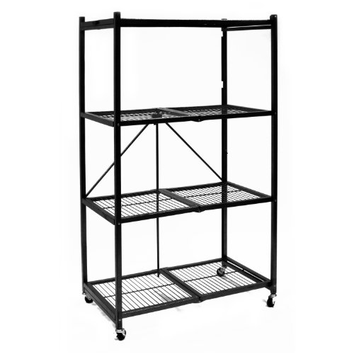 Origami-R5-01W-General-Purpose-4-Shelf-Steel-Collapsible-Storage-Rack-with-Wheels-Large